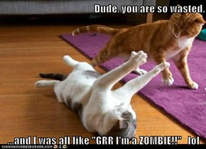 "Dude, you are so wasted.  ...and I was all like ""GRR I'm a ZOMBIE!!""   lol"