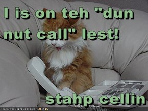 "I is on teh ""dun nut call"" lest!  stahp cellin"