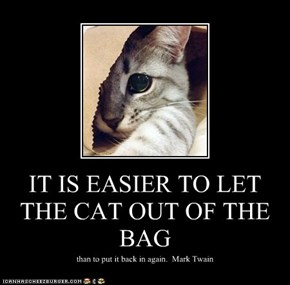 IT IS EASIER TO LET THE CAT OUT OF THE BAG