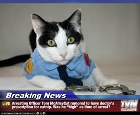 "Breaking News - Arresting Officer Tom McAlleyCat rumored to have doctor's prescription for catnip. Was he ""high"" as time of arrest?"