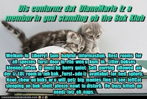 Offishul JeffCatsBookClub Memburship Kard for DianeMarie