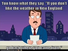 "You know what they say, ""If you don't like the weather in New England,  go back where you came from."""
