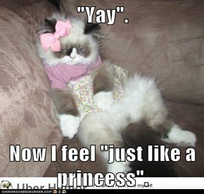"""Yay"".  Now I feel ""just like a princess""."
