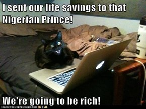 I sent our life savings to that Nigerian Prince!  We're going to be rich!