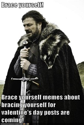Brace yourself!  Brace yourself memes about bracing yourself for valentine's day posts are coming!