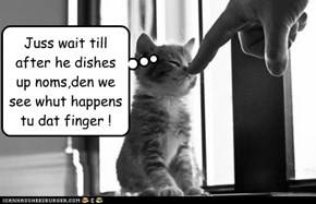 Juss wait till after he dishes up noms,den we see whut happens tu dat finger !