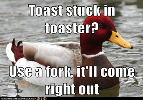 Toast stuck in toaster?  Use a fork, it'll come right out