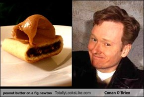 peanut butter on a fig newton Totally Looks Like Conan O'Brien