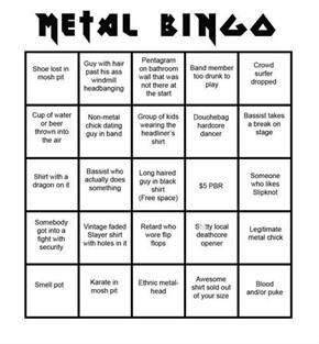 Metal Concert Bingo