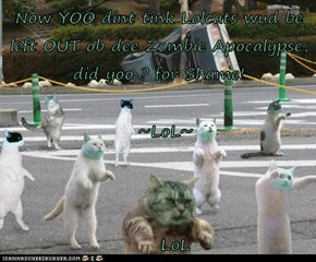 Now YOO dint tink Lolcats wud be left OUT ob dee Zombie Apocalypse, did yoo ? for Shame!   ~LoL~      LoL
