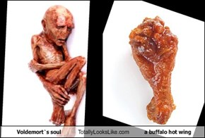 Voldemort`s soul Totally Looks Like  a buffalo hot wing