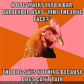 "A DOG WALKS INTO A BAR, BARTENDER ASKS ""WHY THE LONG FACE?""  THE DOG SAYS NOTHING BECAUSE DOGS CAN'T TALK"