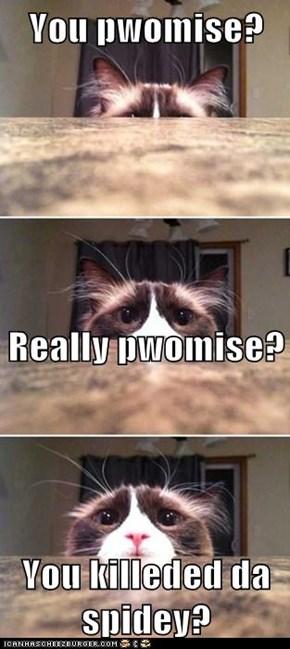 You pwomise?                                                                                                                                           Really pwomise? You killeded da spidey?