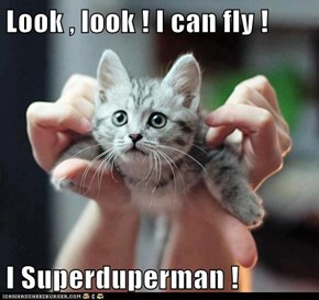 Look , look ! I can fly !  I Superduperman !