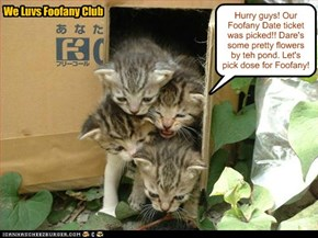 Teh We Luvs Foofany Club kittens could only affords one St. Patrick's Party Foofany Date ticket because of dare small moneys an' allowances, but they were still teh lucky winners!! An' all four members gets to go on teh Foofany Date!