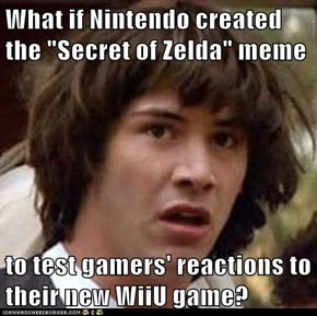 "What if Nintendo created the ""Secret of Zelda"" meme  to test gamers' reactions to their new WiiU game?"