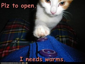 Plz to open.  I needs warms.