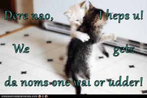Dere nao,              I heps u! We                          getz da noms one wai or udder!