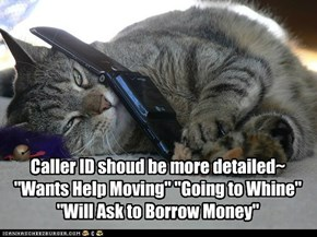"Caller ID shoud be more detailed~ ""Wants Help Moving"" ""Going to Whine"" ""Will Ask to Borrow Money"""