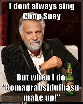 "I dont always sing Chop Suey  But when I do, ""Comagrabsjdufhasu-make up!"""
