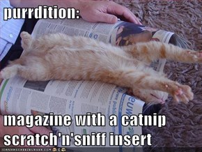 purrdition:  magazine with a catnip scratch'n'sniff insert