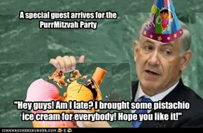 A special guest arrives for the                  PurrMitzvah Party