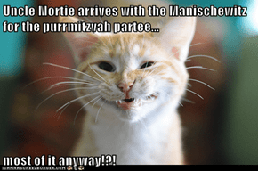 Uncle Mortie arrives with the Manischewitz  for the purrmitzvah partee...  most of it anyway!?!