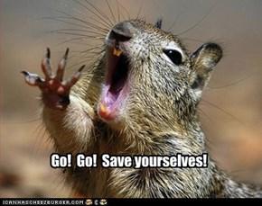 Action Hero Squirrel practices his lines.