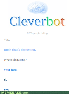 Ouch, Cleverbot! Below the belt!