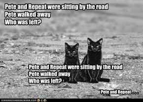 Pete and Repeat were sitting by the road Pete walked away Who was left?