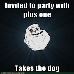 Invited to party with plus one  Takes the dog
