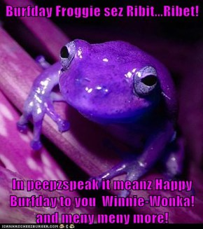 Burfday Froggie sez Ribit...Ribet!  In peepzspeak it meanz Happy Burfday to you  Winnie-Wonka! and meny meny more!