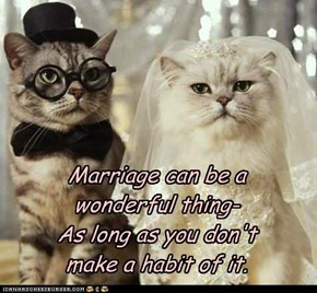 Marriage can be a wonderful thing- As long as you don't  make a habit of it.