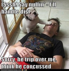 (Sssh! Say nuffin' - I'll handle dis)  Sorry, he trip over me, think he concussed