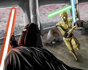 Lightsaber fight, protocol droid style