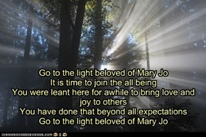 Go to the light beloved of Mary Jo It is time to join the all being You were leant here for awhile to bring love and joy to others You have done that beyond all expectations Go to the light beloved of Mary Jo