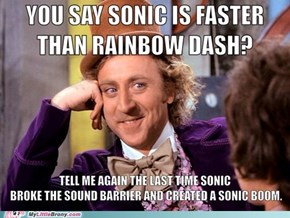 Rainbow Dash beats Sonic with
