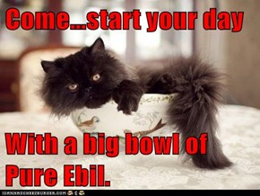 Come...start your day  With a big bowl of Pure Ebil.