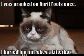 I was pranked on April Fools once,  I buried him in Pokey's Litterbox.