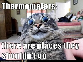 Thermometers:  there are places they shouldn't go