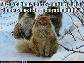 "We used to be hairless until we tried ""Uncle Sams hair restoration tonic"" !"