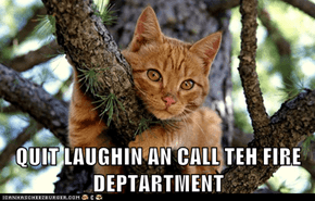 QUIT LAUGHIN AN CALL TEH FIRE DEPTARTMENT