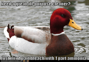 Need a great all-purpose cleaner?  Just mix 1 part bleach with 1 part ammonia.
