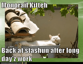 Monorail Kitteh  Back at stashun after long day'z work