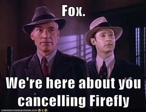 Fox.  We're here about you cancelling Firefly