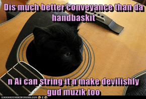 Dis much better conveyance than da handbaskit  n Ai can string it n make devilishly gud muzik too