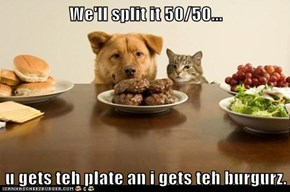 We'll split it 50/50...  u gets teh plate an i gets teh burgurz.