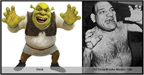 Old Timey Wrestler Maurice Tillet totally looks like Shrek in real life