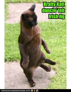 A happy Krafty Katt dances the Irish Jig after Priscilla Pringle accepts his invitation to the upcoming Saint Patrick's Day Festivities!!