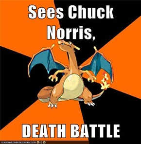 Sees Chuck Norris,  DEATH BATTLE